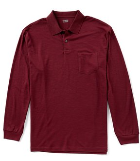 Roundtree & Yorke Travel Smart Big & Tall Long-Sleeve Solid Pocket Polo
