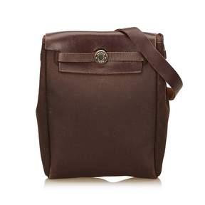 Hermes Herbag cloth crossbody bag - BROWN - STYLE