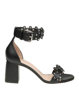RED Valentino Leather Sandal With Flowers Applied Color Black