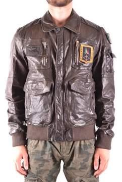 Aeronautica Militare Men's Brown Leather Outerwear Jacket.
