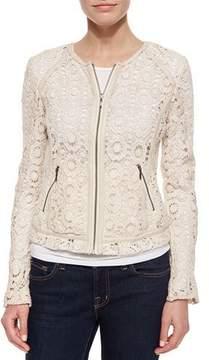 Neiman Marcus Crochet Jacket with Lambskin Trim, Ecru