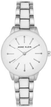 Anne Klein Silvertone Glossy White Dial Bracelet Watch