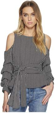 J.o.a. Striped Cold Shoulder Top with Ruched Sleeve Women's Clothing