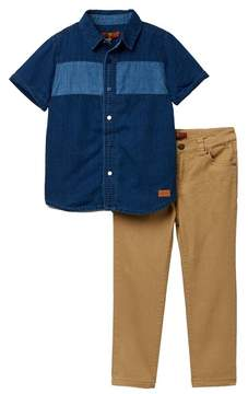 7 For All Mankind Button Up Shirt & Pants Set (Toddler Boys)
