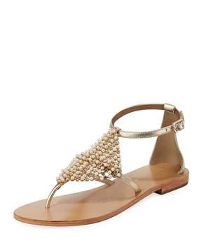 Andre Assous Kamora Flat Embellished Metallic Leather Sandal