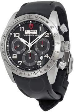 Tudor Fastrider Black Dial Chronograph Black Leather Men's Watch