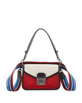 Longchamp Mademoiselle Colorblock Canvas Toile Crossbody Bag, Red