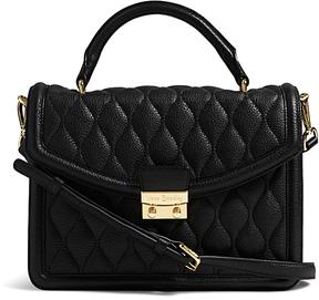 Vera Bradley Black Lydia Leather Satchel - BLACK - STYLE
