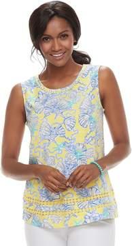 Caribbean Joe Women's Shell Print Tank