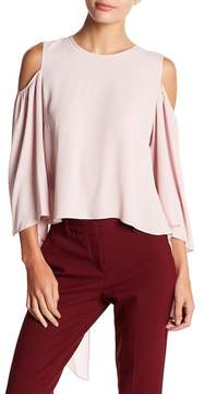 BCBGeneration Silky Cold Shoulder Tie Back Top