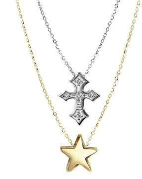 Alex Woo Women's 14K Yellow Gold and Sterling Silver Double Pendant Diamond Necklace