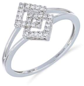 Bony Levy 18K White Gold Pave Diamond Interlocked Split Shank Ring - Size 7 - 0.16 ctw