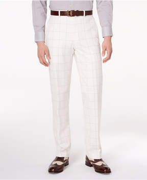 Sean John Men's Classic-Fit Stretch White/Gray Windowpane Suit Pants