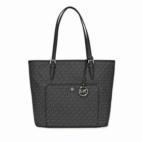 Michael Kors Women's Large Jet Set Top Zip Snap Pocket Leather Shoulder Bag Tote - Black - BLACK - STYLE