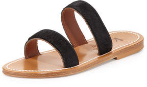 K. Jacques Bagatel Double-Band Slide Sandal, Horsy Noir