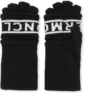 Moncler Intarsia Wool Fingerless Gloves - Black