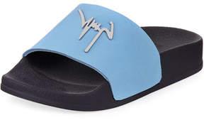 Giuseppe Zanotti Birel Leather Slide Sandal, Black, Youth