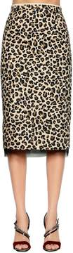 N°21 Animalier Cotton Canvas Pencil Skirt