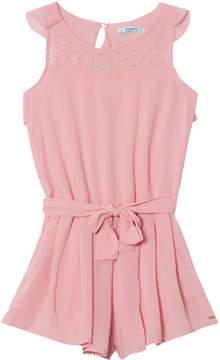 Mayoral Pink Chiffon Studded Playsuit