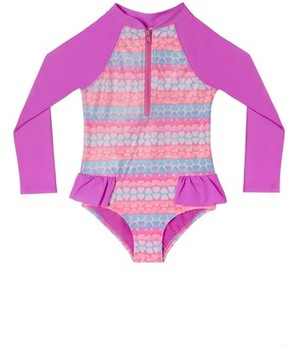 Hula Star Toddler Girl's Hearts Galore One-Piece Rashguard Swimsuit