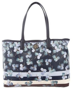 Tory Burch Floral Primula Stripe Kerrington Tote - BLUE - STYLE
