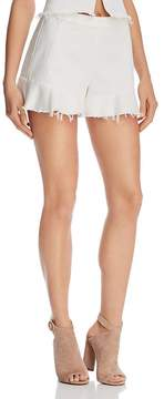 Blank NYC BLANKNYC Ruffle-Hem Denim Shorts in Great White - 100% Exclusive