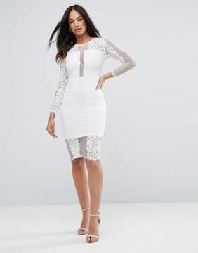 AX Paris Cream Long Sleeve Lace Midi Dress