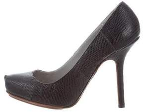 Calvin Klein Collection Embossed Leather Round-Toe Pumps