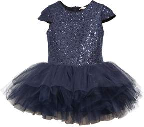 Miss Blumarine Sequined Mesh & Stretch Tulle Dress