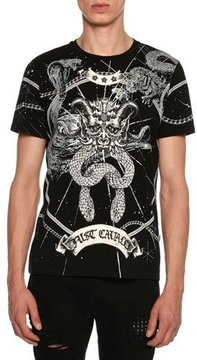 Just Cavalli Snakes-and-Horns Jersey T-Shirt
