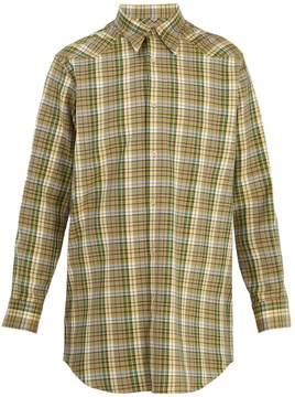 Maison Margiela Point-collar checked cotton-twill shirt