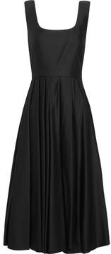 Awake Pleated Satin-jersey Dress - Black