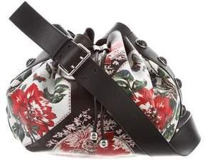 Alexander McQueen 2017 Floral Print Leather Bucket Bag