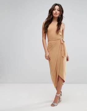 Club L High Neck Wrap Front Slinky Midi Dress