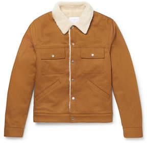 Sandro Slim-Fit Faux Shearling-Lined Cotton-Twill Jacket