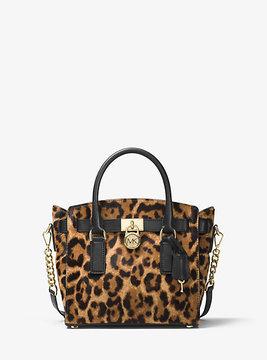 Michael Kors Hamilton Leopard Calf Hair Satchel - BROWN - STYLE