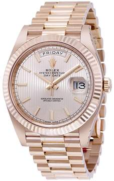 Rolex Day-Date Sundust Stripe Dial 18K Everose Gold Automatic Men's Watch