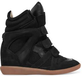 Isabel Marant Bekett Leather-trimmed Suede Wedge Sneakers - Black