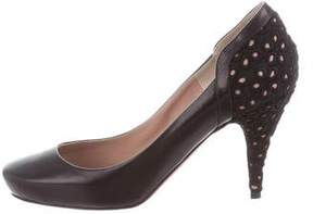 Nina Ricci Leather Crochet-Trimmed Pumps