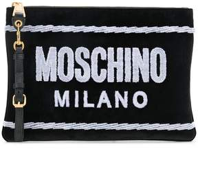 Moschino front logo clutch bag