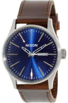 Nixon Men's Sentry Leather A1051524 Silver Leather Quartz Fashion Watch