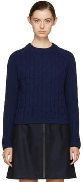 Carven Navy Cropped Wool Sweater