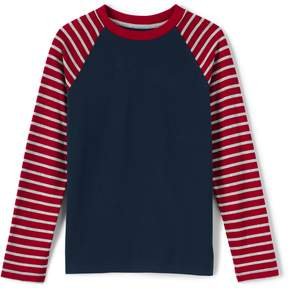 Lands' End Lands'end Boys Stripe Sleeve Raglan