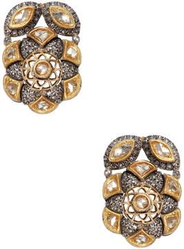 Artisan Women's 18K Yellow Gold, Silver & 1.80 Total Ct. Diamond Floral Earrings