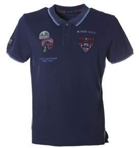 Blauer Men's Blue Cotton Polo Shirt.