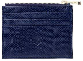Aspinal of London Zip Top Coin Card Case In Midnight Blue Lizard Cream Suede
