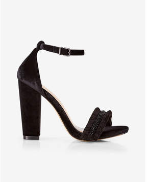 Express velvet beaded thick heel