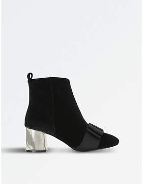Miss KG Black Modern Talisa Metallic-Heel Velvet Ankle Boots