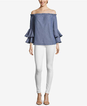 ECI Cotton Off-The-Shoulder Ruffle-Sleeve Top