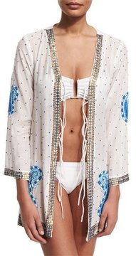 Letarte Blue Pebble Embroidered Kimono Coverup